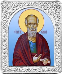 Святой Елисей. Маленькая икона в серебряной раме.