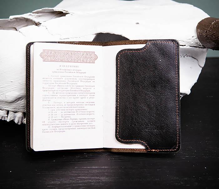 BC119-1 Обложка на паспорт из натуральной кожи с текстурой под дерево фото 05