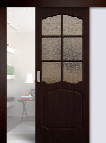 Дверь раздвижная Сибирь Профиль Классика, цвет венге, остекленная