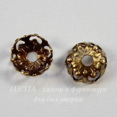 Винтажный декоративный элемент - шапочка 7х3 мм (оксид латуни)