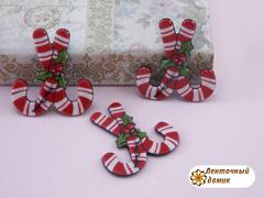 Плоский  декор Рождественские леденцы на черном фоне (глянец)