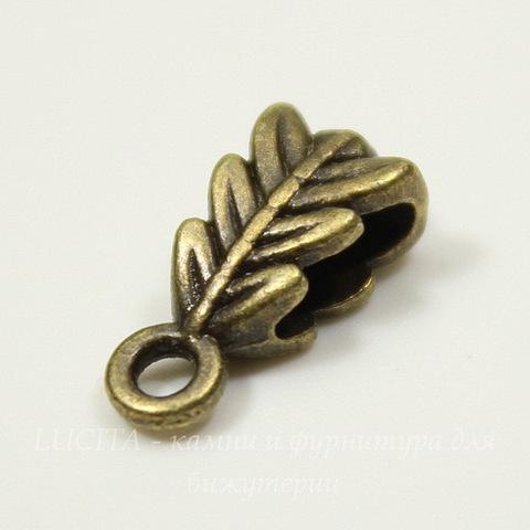 "Бейл ""Листик"" (цвет - античная бронза) 14х6,5 мм"