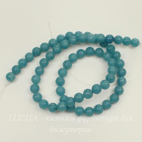 Бусина Кварц (тониров), шарик, цвет - голубой , 6 мм, нить