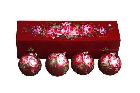 Zhostovo Christmas balls in wooden box - set of 4 balls SET04D-667785817