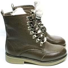 Модные ботинки на шнуровке женские зимние Studio27 576c Broun.