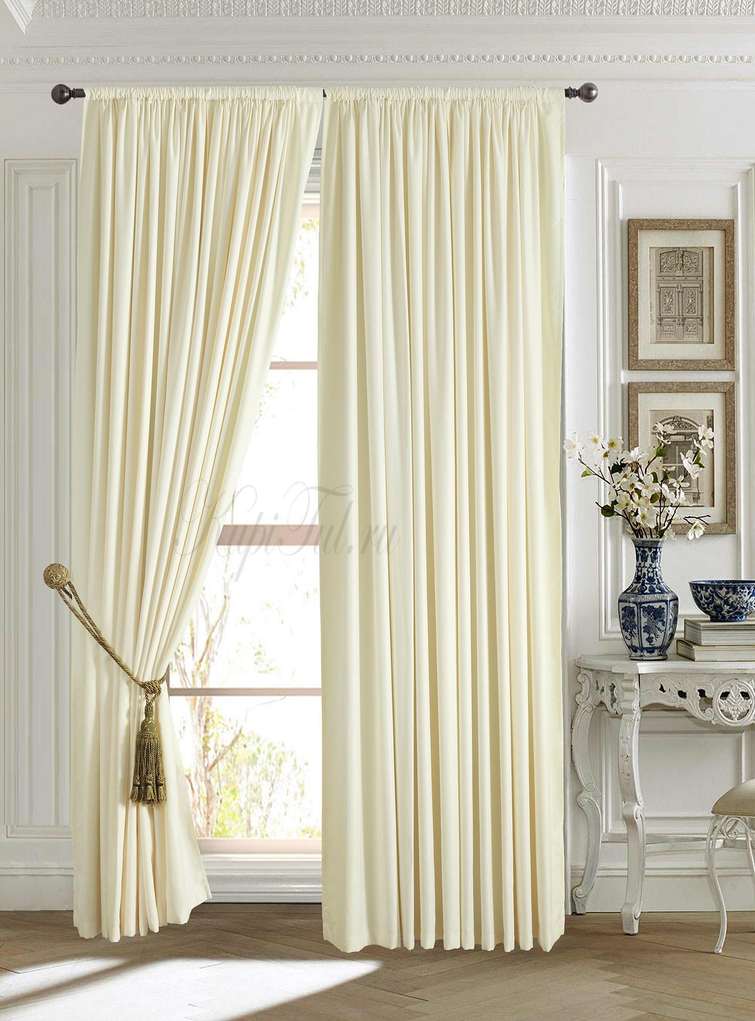 Длинные шторы -Mild (молочный).