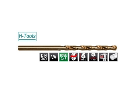 Сверло по металлу ц/x 6,0x139/91мм DIN340 h8 10xD HSSE-Co5 135° H-Tools 1670-1060