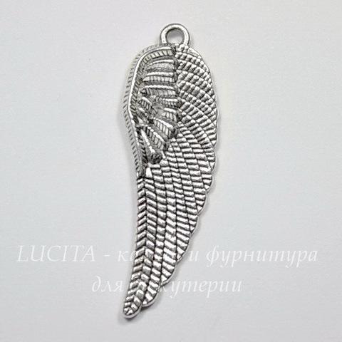 """Подвеска """"Крыло"""" 37х12 мм (цвет - античное серебро)"""