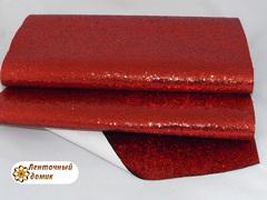 Глиттер крупный на тканевой основе красный