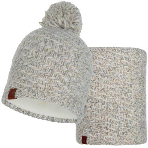 Комплект шарф-шапка вязаный с флисом Buff Agna Sand