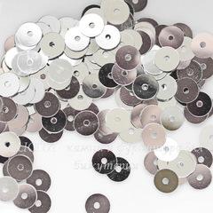 Пайетки серебряные, 6 мм, 10 грамм