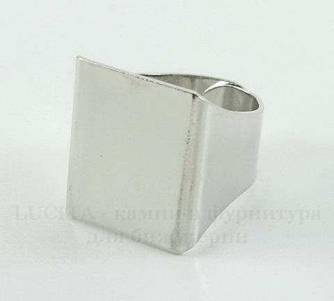 Основа для кольца с квадратной площадкой 20х20 мм (цвет - античное серебро)