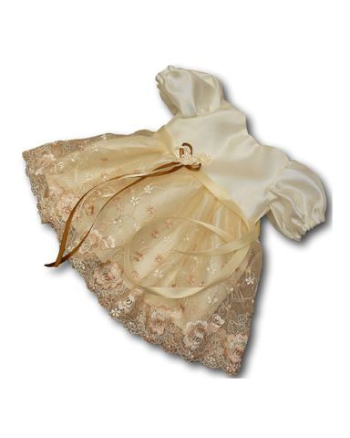 Платье из тафты - Кремовый / бежевый. Одежда для кукол, пупсов и мягких игрушек.