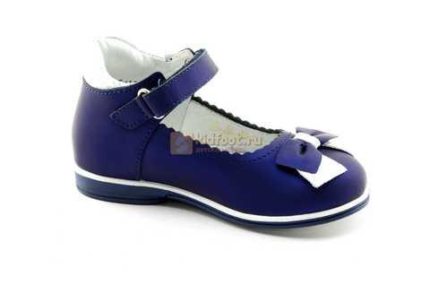 Туфли ELEGAMI (Элегами) из натуральной кожи для девочек, цвет темно синий металлик, артикул 7-805761502. Изображение 2 из 13.