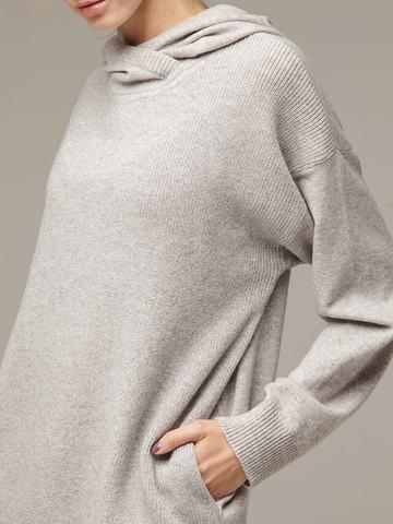 Женский серый джемпер с капюшоном из шерсти и кашемира - фото 5