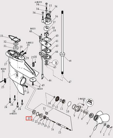 Подшипник шестерни п-х для лодочного мотора F9.8 Sea-PRO (12-23)
