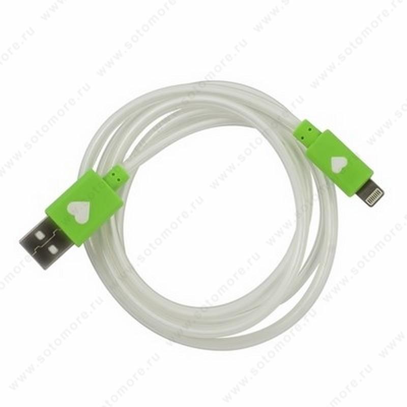 Кабель Lightning to USB 1.0 метр светящийся белый с зелеными наконечниками в техупаковке
