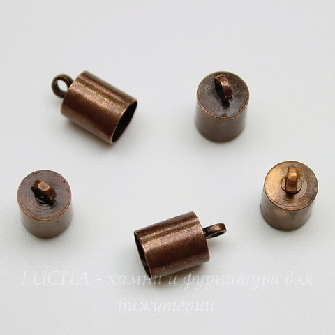 Концевик для шнура 5,5 мм (цвет - античная медь) 10х6 мм, 2 штуки