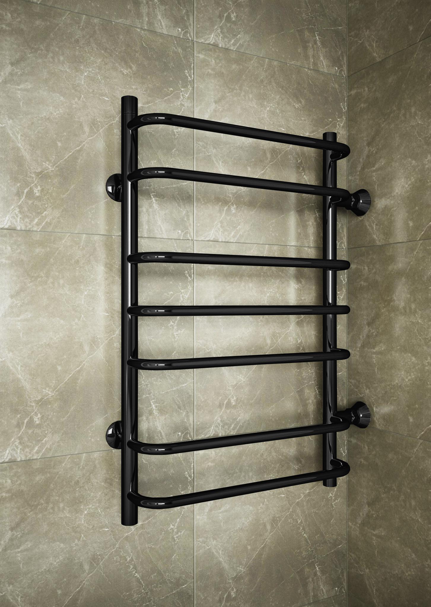 Standart  Black - водяной полотенцесушитель с боковым подключением черного цвета.