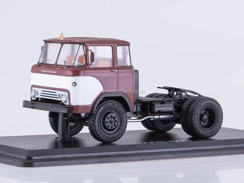 KAZ-608 road tractor four-headlamps burgundy-white 1:43 Start Scale Models (SSM)