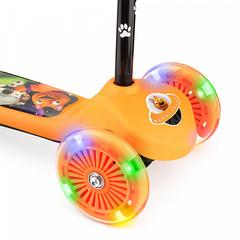 Детский самокат трёхколёсный (оранжевый) - светящиеся колёса