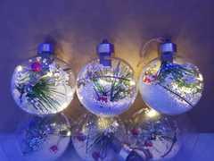 Новогодняя светящаяся игрушка на елку 3 шт.