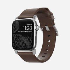 Ремешок Nomad Modern Strap для Apple Watch 40/38mm, кожа, темно-коричневый/серебряный