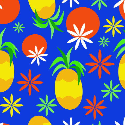 Seamless Tropical Fruits Pattern