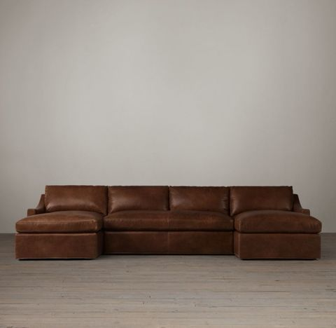 Belgian Classic Slope Arm Leather U-Chaise Sectional