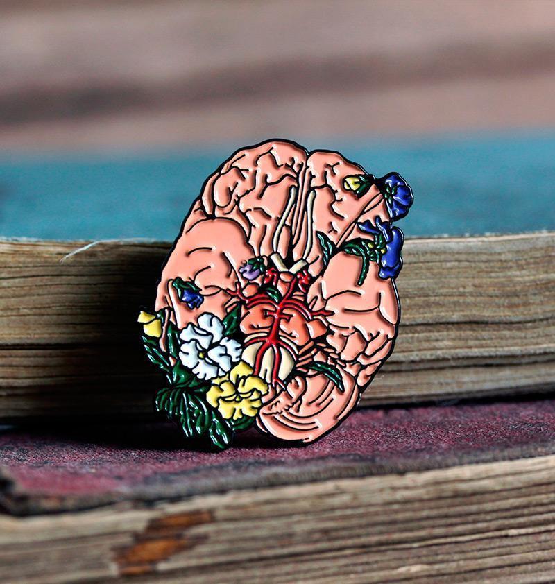 Брошь Мозг (эмаль)