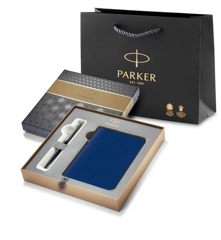 Подарочный набор с Ежедневником недатированным, синий  и Шариковая ручка Parker Jotter K60, цвет: Blue123