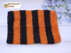 Ажурный топик черно-оранжевый