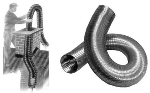 Газоход гофрированный d 120 мм (1м) из нержавеющей стали