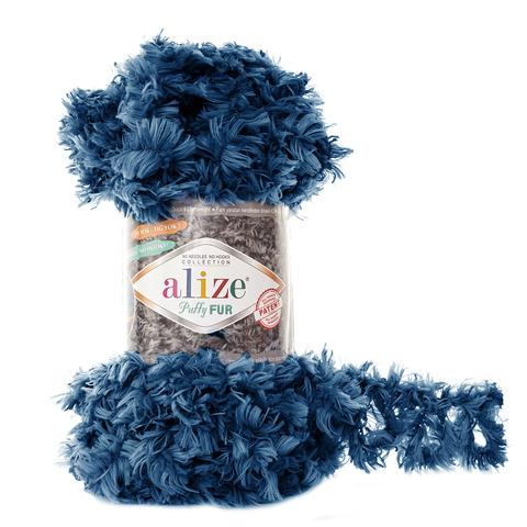 Купить Пряжа Alize Puffy Fur Цвет 6114 Синий | Интернет-магазин пряжи «Пряха»