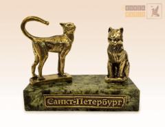 фигурка Кот Елисей и кошка Василиса на змеевике