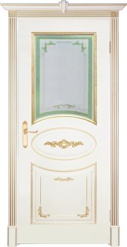 Дверь Prestigio Джорджо, стекло вариант №3, цвет  слоновая кость/патина золото, остекленная