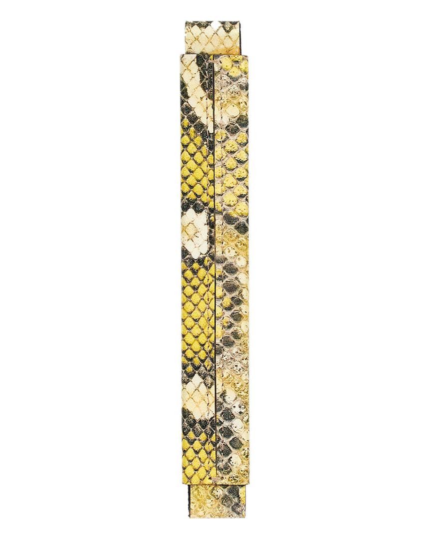 Сменная ручка из желтой лаковой кожи с принтом питона