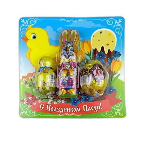 Пасх. набор : 1 цыпленок 18г, 1 цыпленок 40г, шоколадное яйцо 20г в блистерной упаковке 1кор*2бл*12шт,78гр