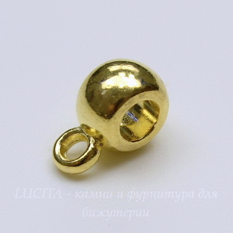 Бейл гладкий (цвет - золото) 9х4 мм, 5 штук