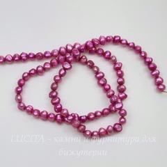 Жемчуг речной ярко-розовый  4-5 мм (крашен.), нить 37-38 см
