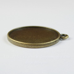 Сеттинг - основа - подвеска для камеи или кабошона 27 мм (цвет - античная бронза)