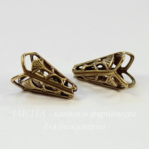 Винтажный декоративный элемент - шапочка - конус 12х8 мм (оксид латуни)