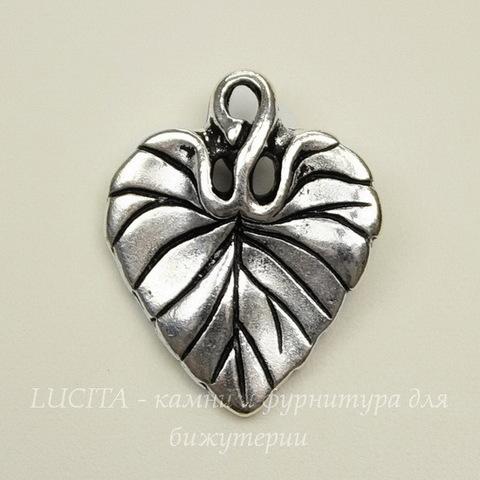"Подвеска TierraCast ""Лист фиалки"" (цвет-античное серебро) 18х15 мм"