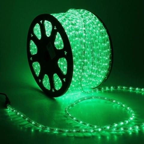 Дюралайт светодиодный, двухпроводной, круглый 11 мм, Зеленый, 36 LED/м, кратность резки 2 метра