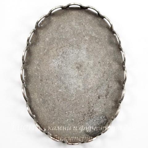 Сеттинг - основа для камеи или кабошона 30х22 мм (оксид серебра)