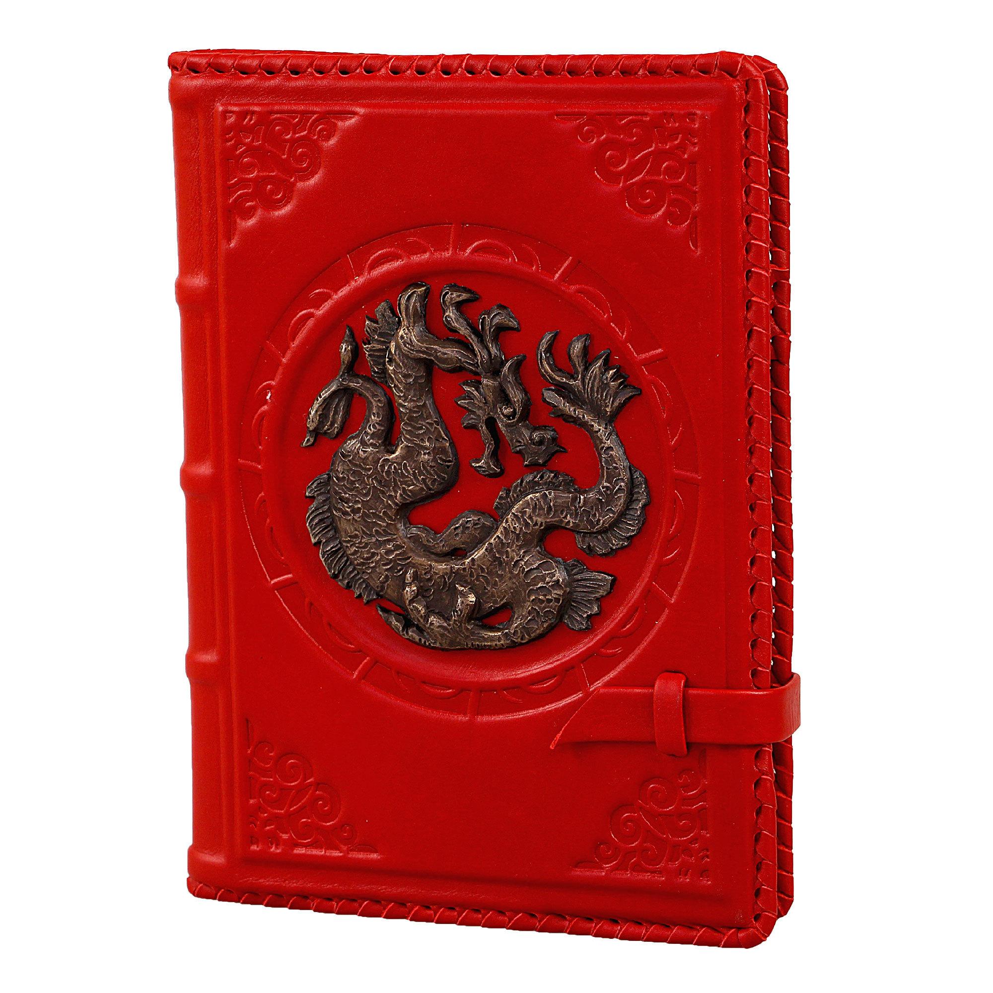 Ежедневник кожаный А5 «Дракон» красный А80404