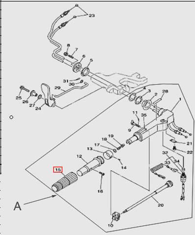 Ручка газа резиновая  для лодочного мотора T15, OTH 9,9 SEA-PRO (11-15)