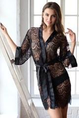 Кружевной халат Magdalena черный