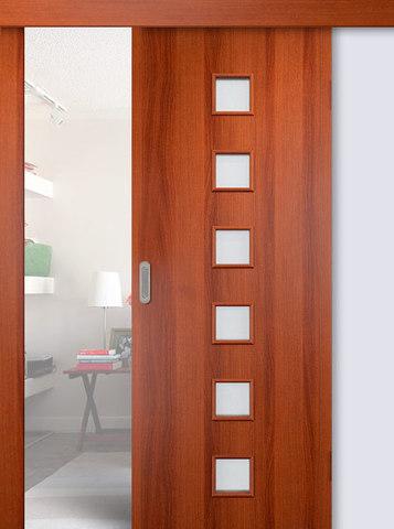 Дверь раздвижная Сибирь Профиль Квадрат (С-9), цвет итальянский орех, остекленная