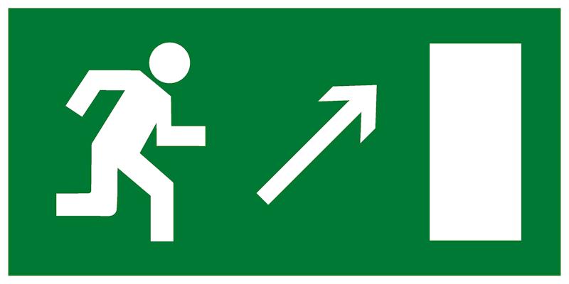 Эвакуационный знак Е05 - Направление к эвакуационному выходу направо вверх